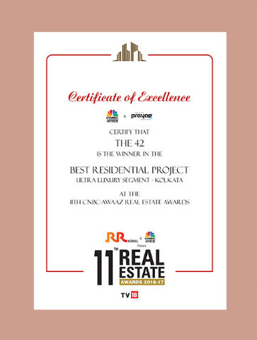 THE 42 Certificate of Excellence for Best Residential Project