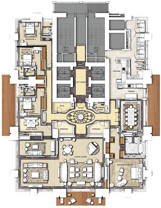 Four Bedroom Residence Plan of THE 42
